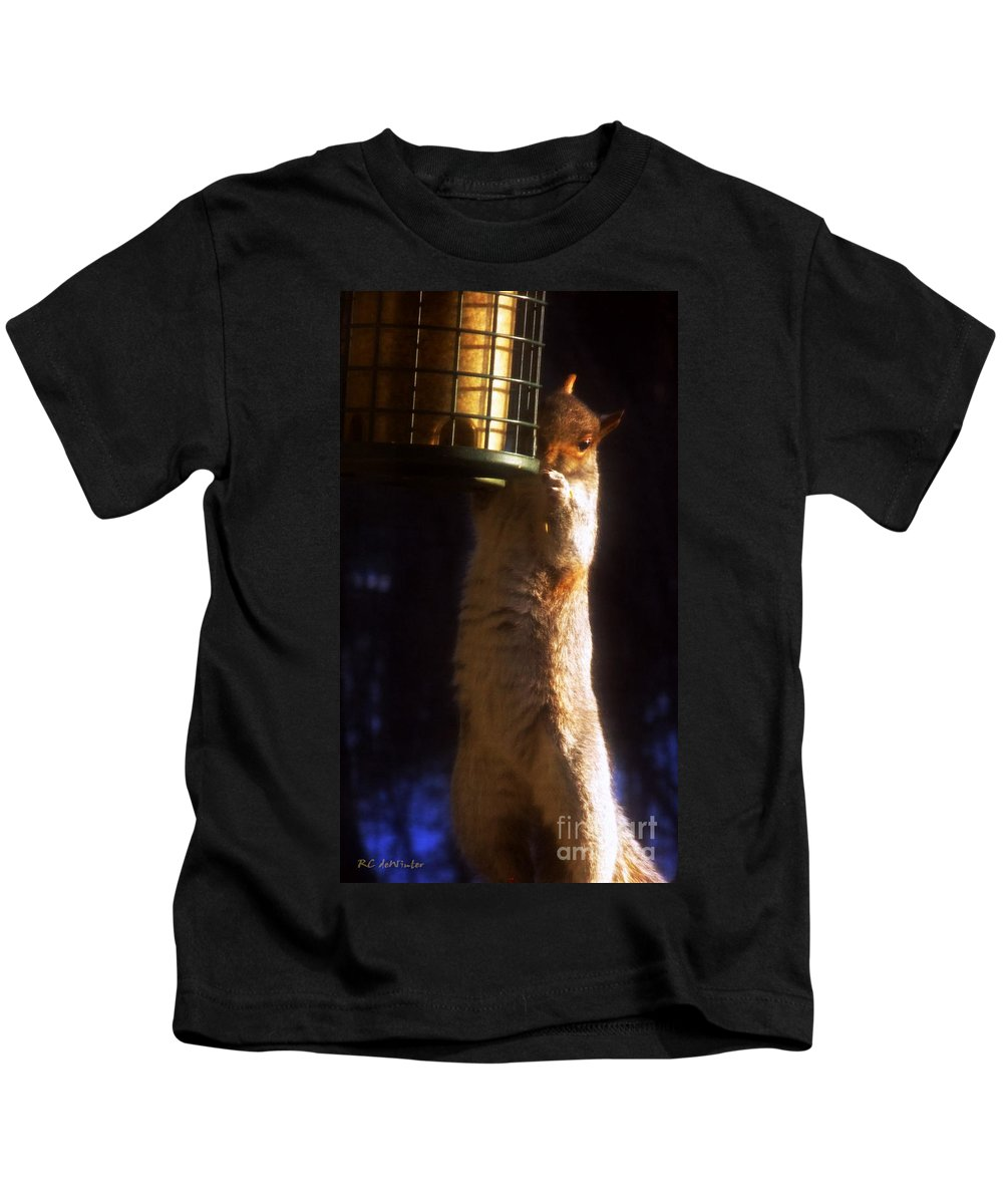 Squirrel Kids T-Shirt featuring the photograph Caught Red-handed by RC DeWinter