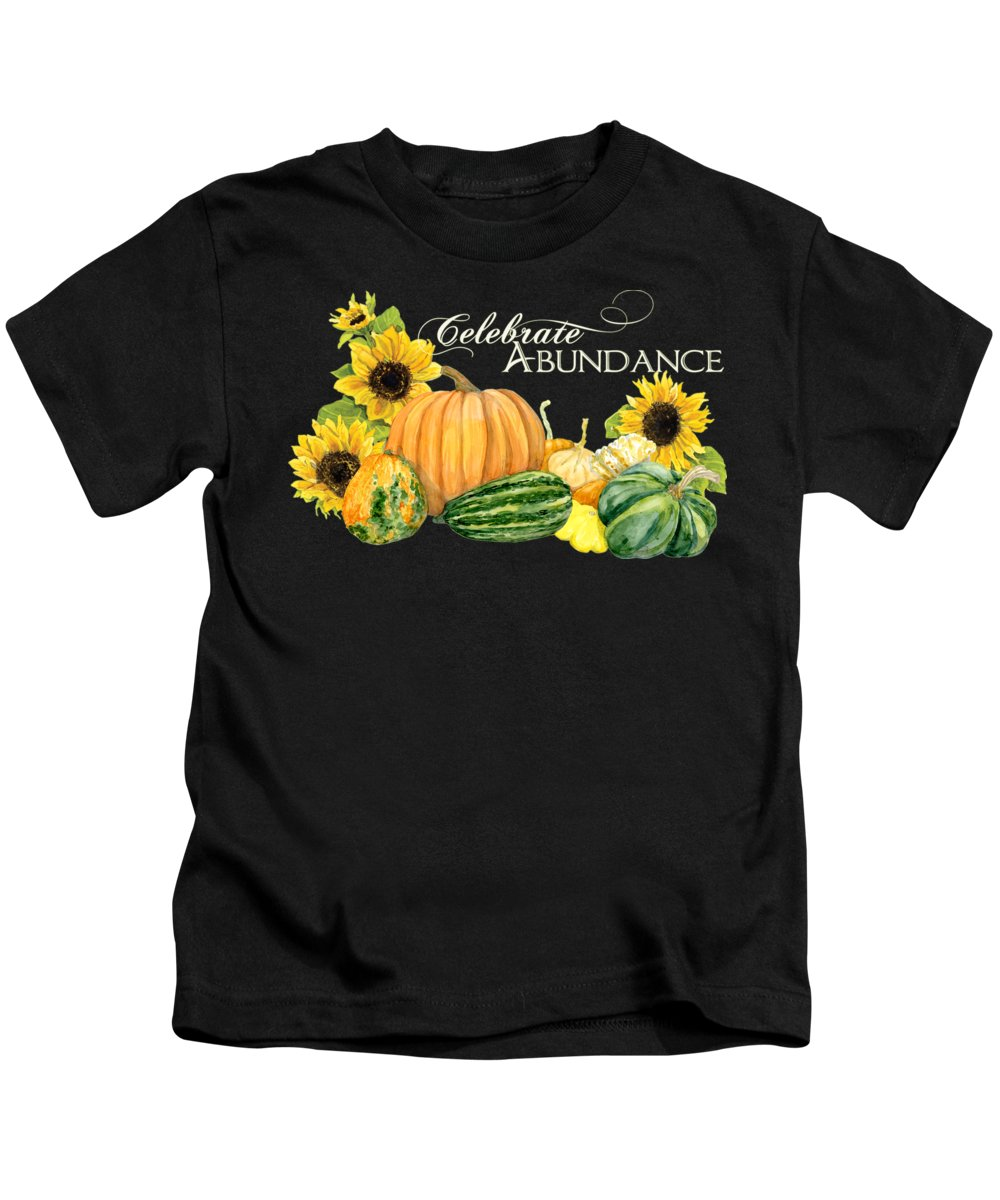 Harvest Kids T-Shirt featuring the painting Celebrate Abundance - Harvest Fall Pumpkins Squash N Sunflowers by Audrey Jeanne Roberts