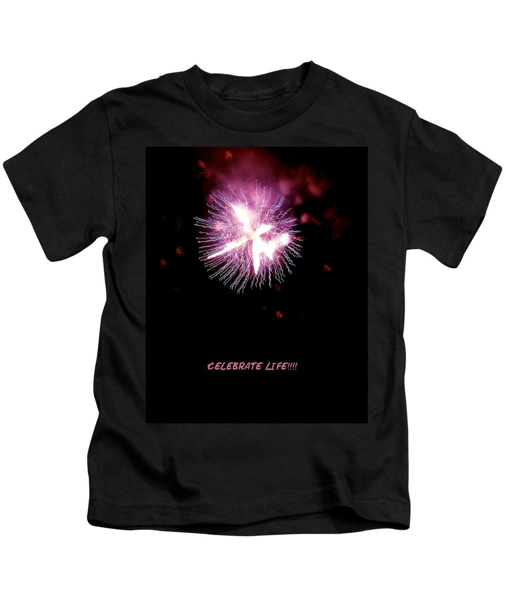 Fireworks Kids T-Shirt featuring the photograph Celebrate Life by Kendall Eutemey