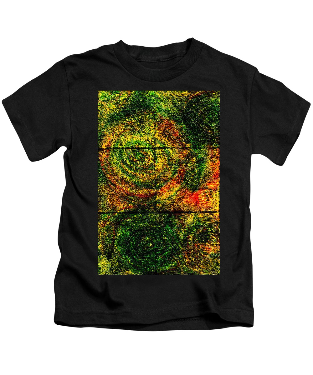 Abstract Kids T-Shirt featuring the painting Celestial Grid by Wayne Potrafka