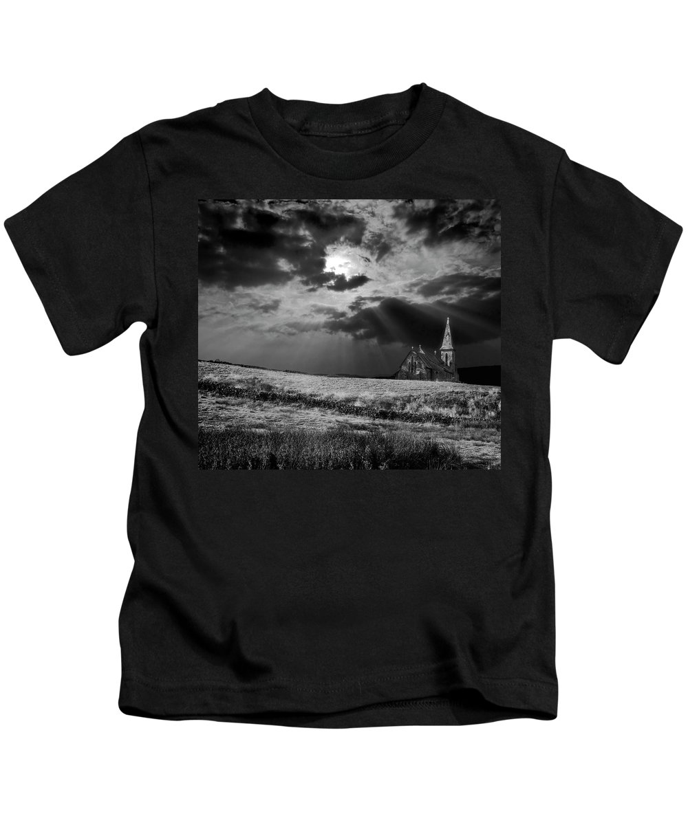 Church Kids T-Shirt featuring the photograph Celestial Lighting by Meirion Matthias