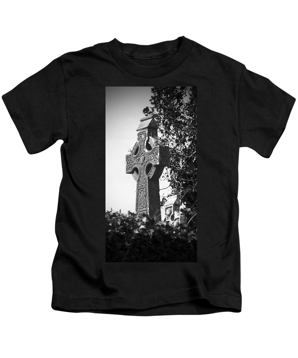 Celtic Kids T-Shirt featuring the photograph Celtic Cross At Fuerty Cemetery Roscommon Ireland by Teresa Mucha