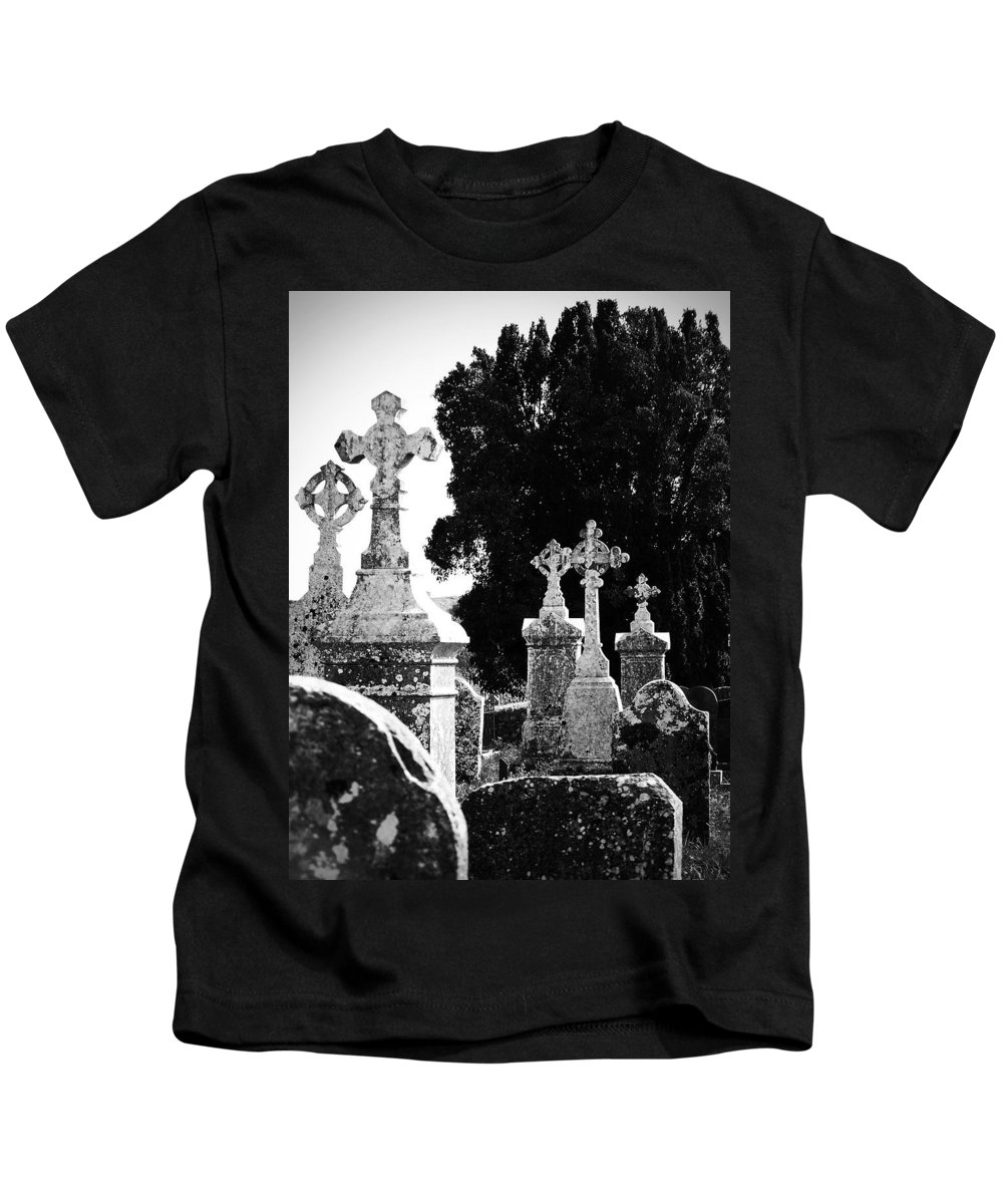 Celtic Kids T-Shirt featuring the photograph Celtic Crosses At Fuerty Cemetery Roscommon Ireland by Teresa Mucha