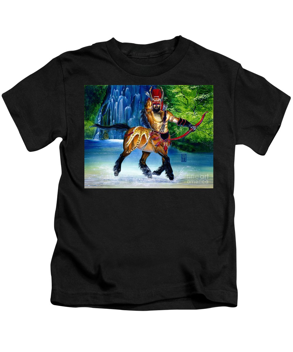 Centaur Kids T-Shirt featuring the painting Centaur In Waterfall by Melissa A Benson
