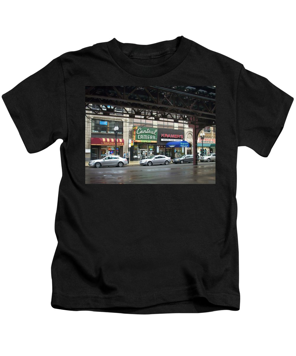 Chicago Kids T-Shirt featuring the photograph Central Camera On Wabash Ave by Anita Burgermeister