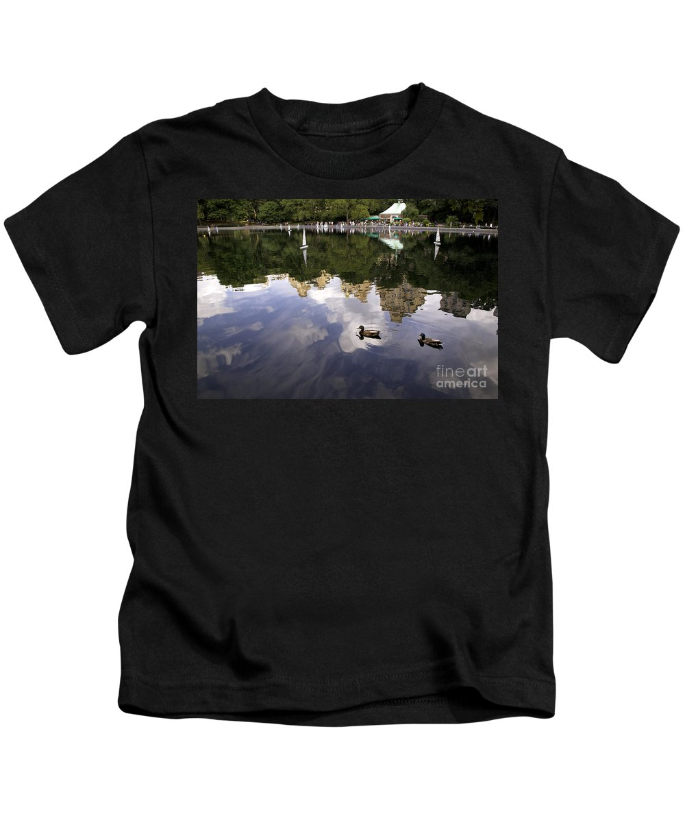 Duck Kids T-Shirt featuring the photograph Central Park Pond With Two Ducks by Madeline Ellis