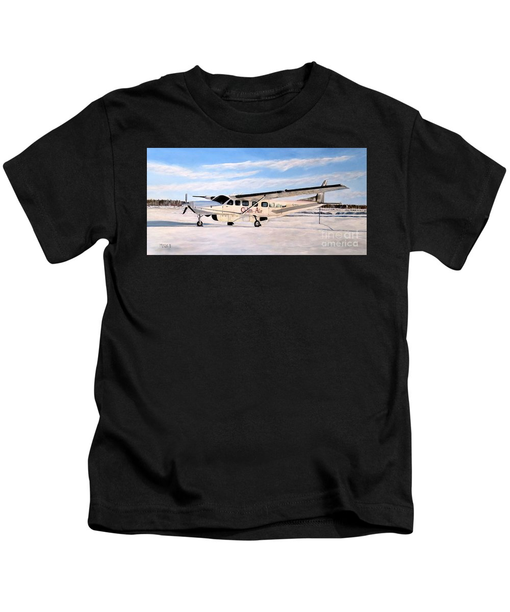 Cessna 208 Caravan Kids T-Shirt featuring the painting Cessna 208 Caravan by Marilyn McNish