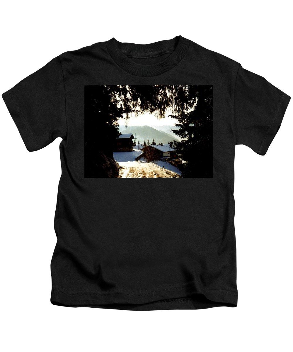 Chalet Through The Trees Kids T-Shirt featuring the photograph Chalet Through The Trees by Catt Kyriacou