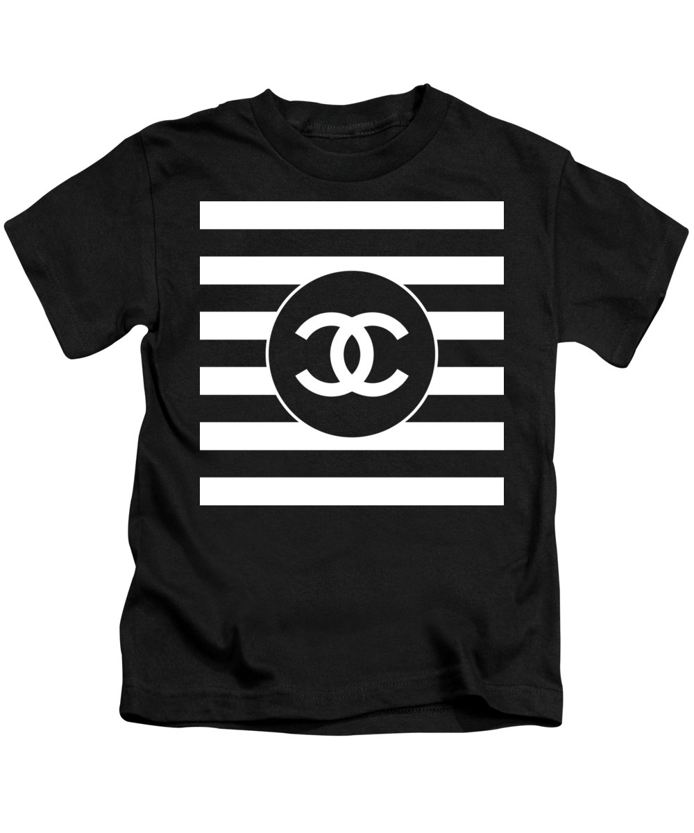 Chanel Kids T-Shirt featuring the digital art Chanel - Stripe Pattern - Black And White 2 - Fashion And Lifestyle by TUSCAN Afternoon