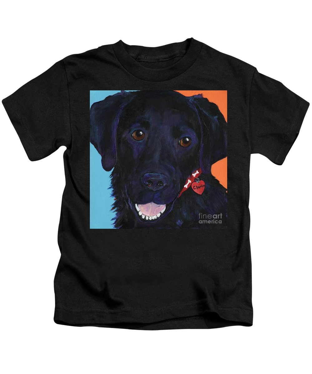 Dog Art Kids T-Shirt featuring the painting Charlie by Pat Saunders-White