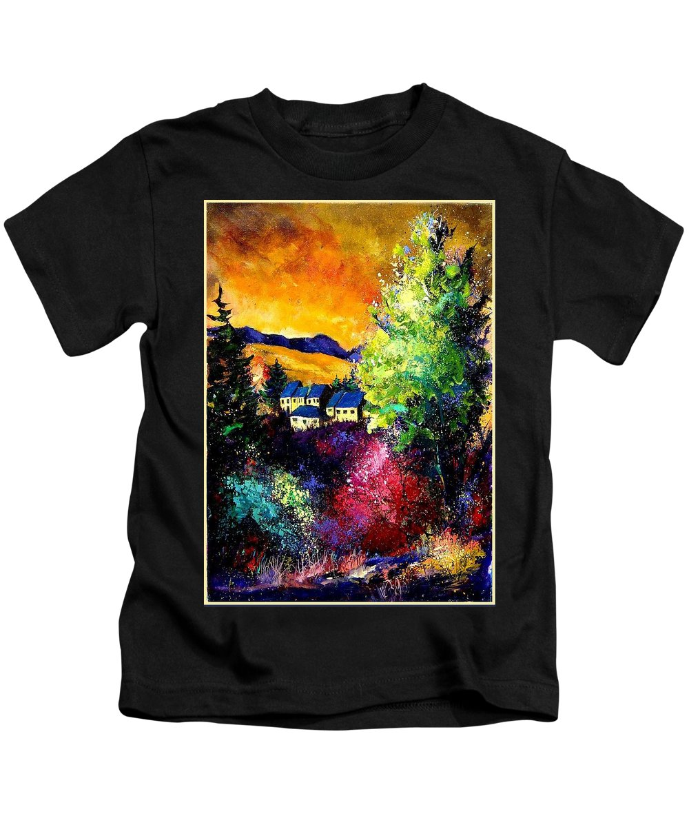 Landscape Kids T-Shirt featuring the painting Charnoy by Pol Ledent