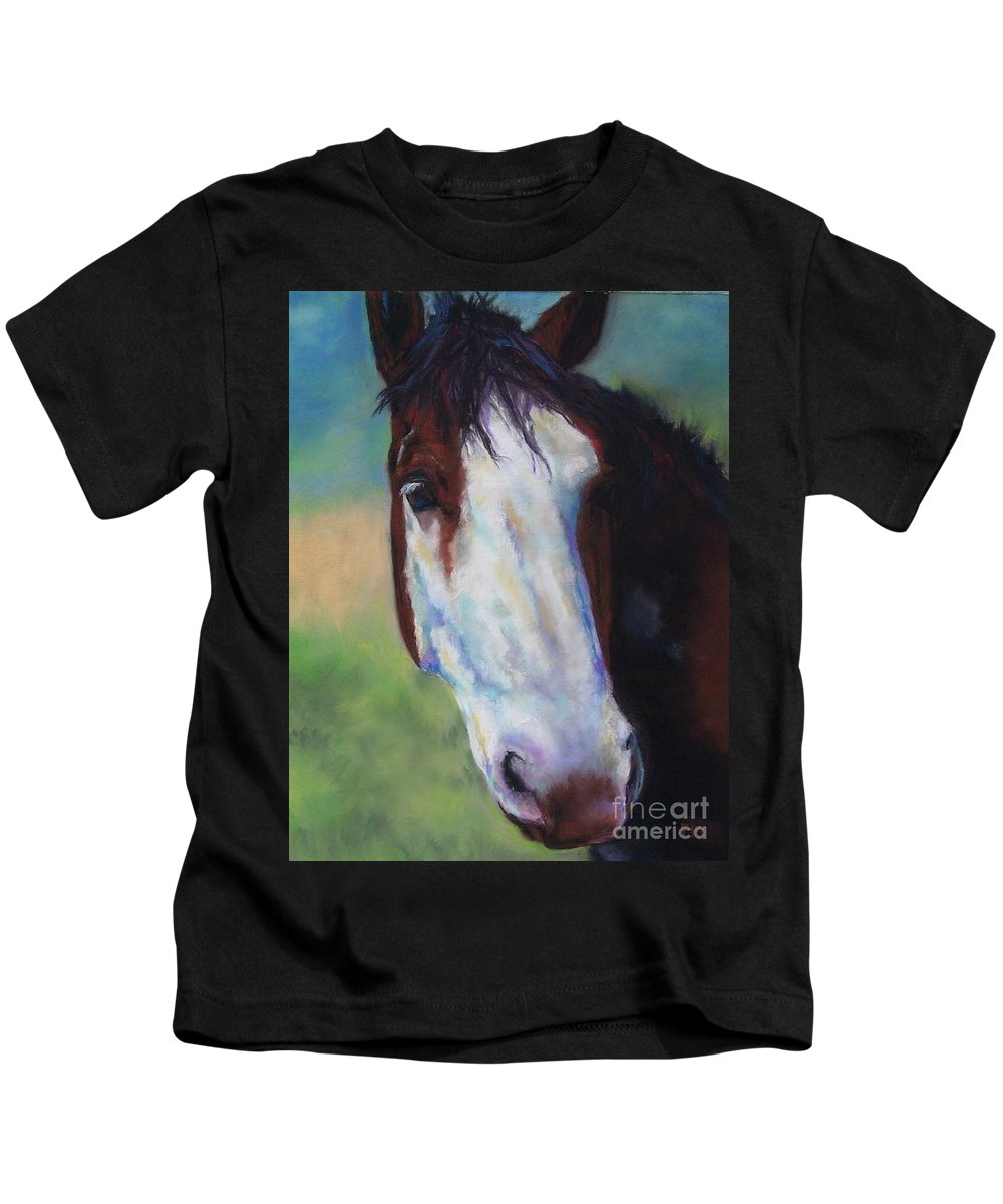 Horse Kids T-Shirt featuring the painting Charolette by Frances Marino