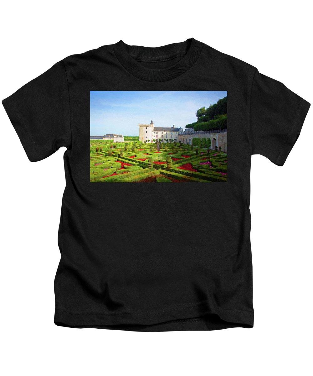 Chateau De Villandry Kids T-Shirt featuring the photograph Chateau De Villandry, Loire, France by Curt Rush