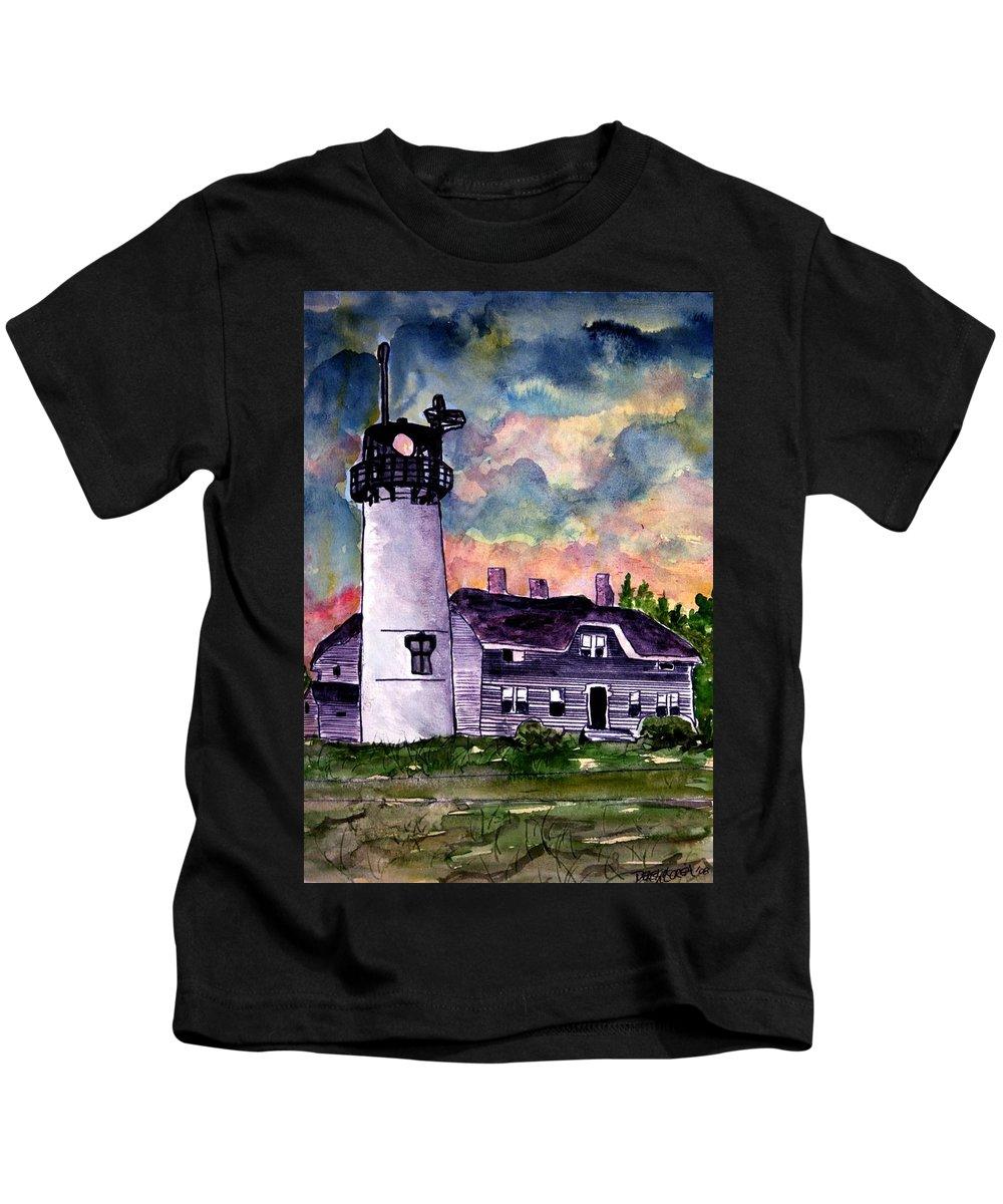 Lighthouse Kids T-Shirt featuring the painting Chatham Lighthouse Martha's Vineyard Massachuestts Cape Cod Art by Derek Mccrea