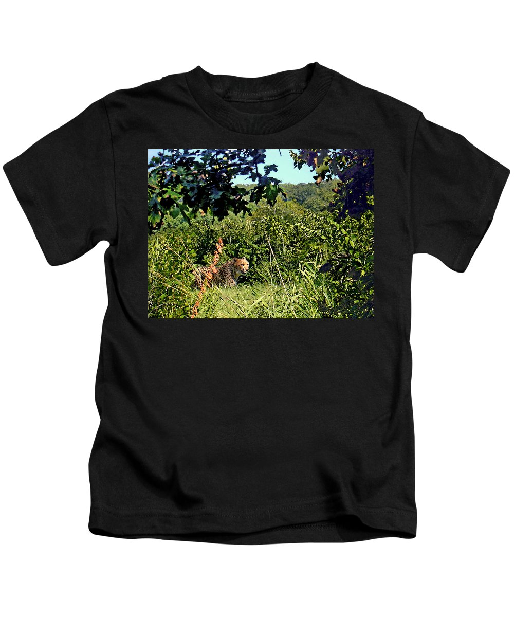 Cheetah Kids T-Shirt featuring the photograph Cheetah Zoo Landscape by Steve Karol