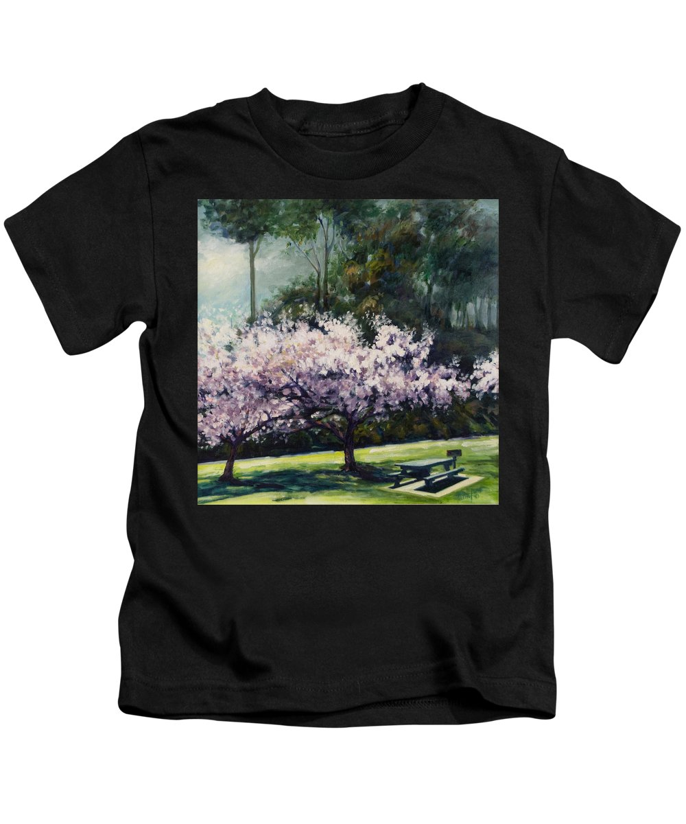 Trees Kids T-Shirt featuring the painting Cherry Blossoms by Rick Nederlof