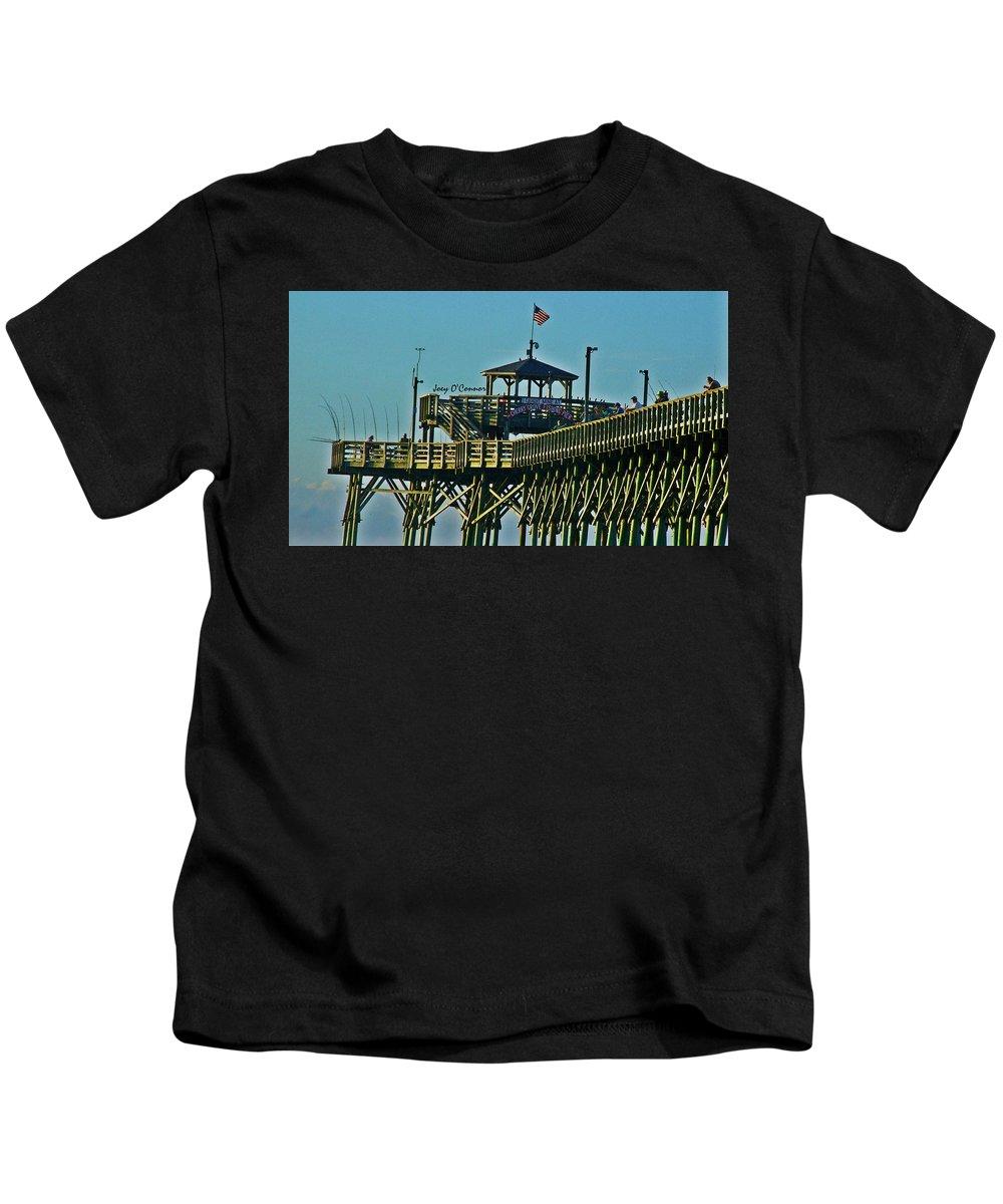 Cherry Grove Kids T-Shirt featuring the photograph Cherry Grove Pier - Closeup End Of Pier by Joey OConnor