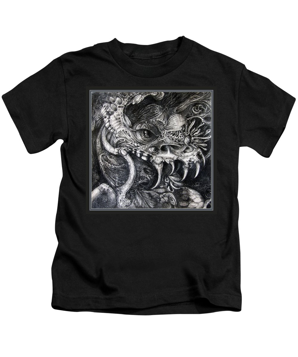 Kids T-Shirt featuring the drawing Cherubim Of Beasties by Otto Rapp
