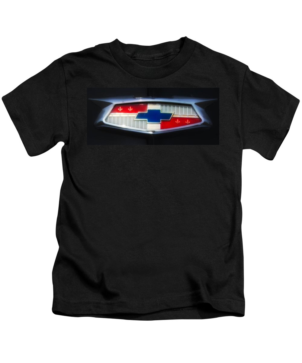 Chevy Kids T-Shirt featuring the photograph Chevy Emblem by Bill Cannon