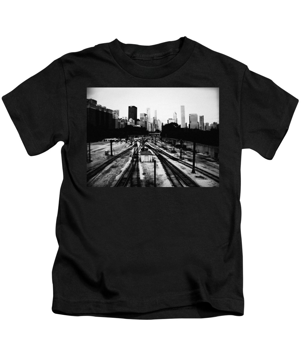 Chicago Kids T-Shirt featuring the photograph Chicago Grant Park Railroad Skyline by Kyle Hanson