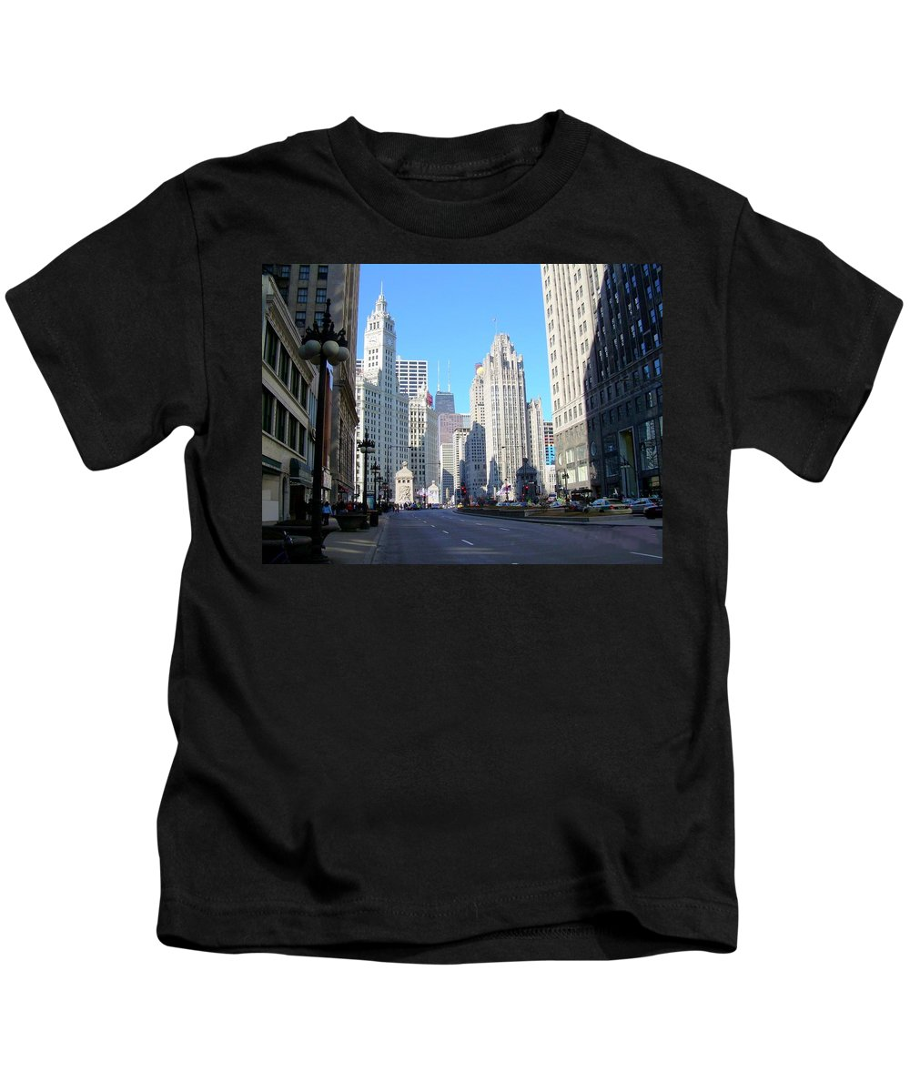Chicago Kids T-Shirt featuring the photograph Chicago Miracle Mile by Anita Burgermeister