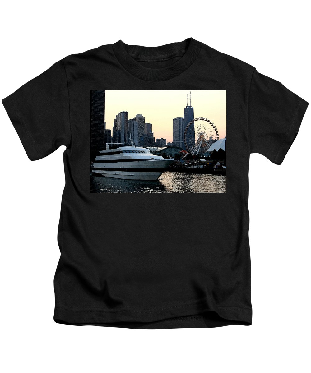 Photo Kids T-Shirt featuring the photograph Chicago Navy Pier by Glory Fraulein Wolfe