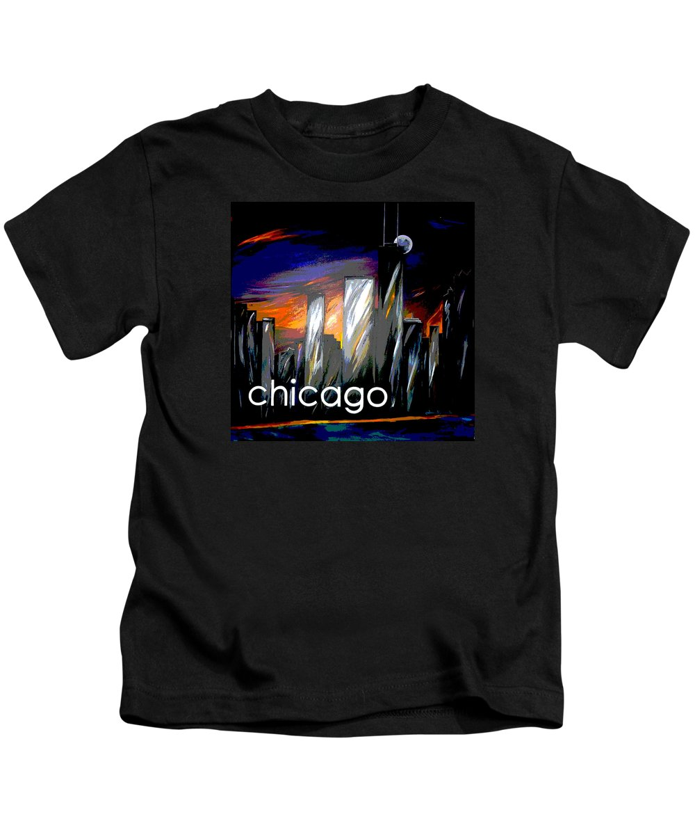 Chicago Kids T-Shirt featuring the painting Chicago Night Skyline by Jean Habeck