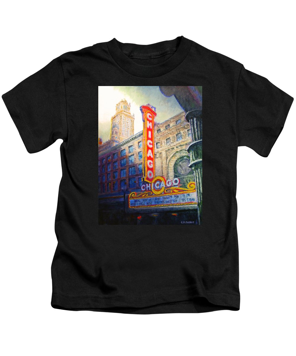 Chicago Kids T-Shirt featuring the painting Chicago Theater by Michael Durst