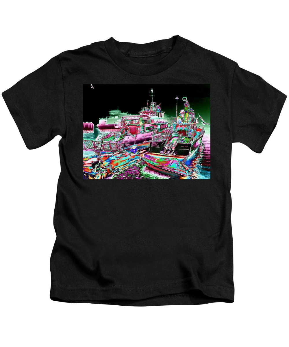 Seattle Kids T-Shirt featuring the digital art Chief Seattle In The Fog by Tim Allen