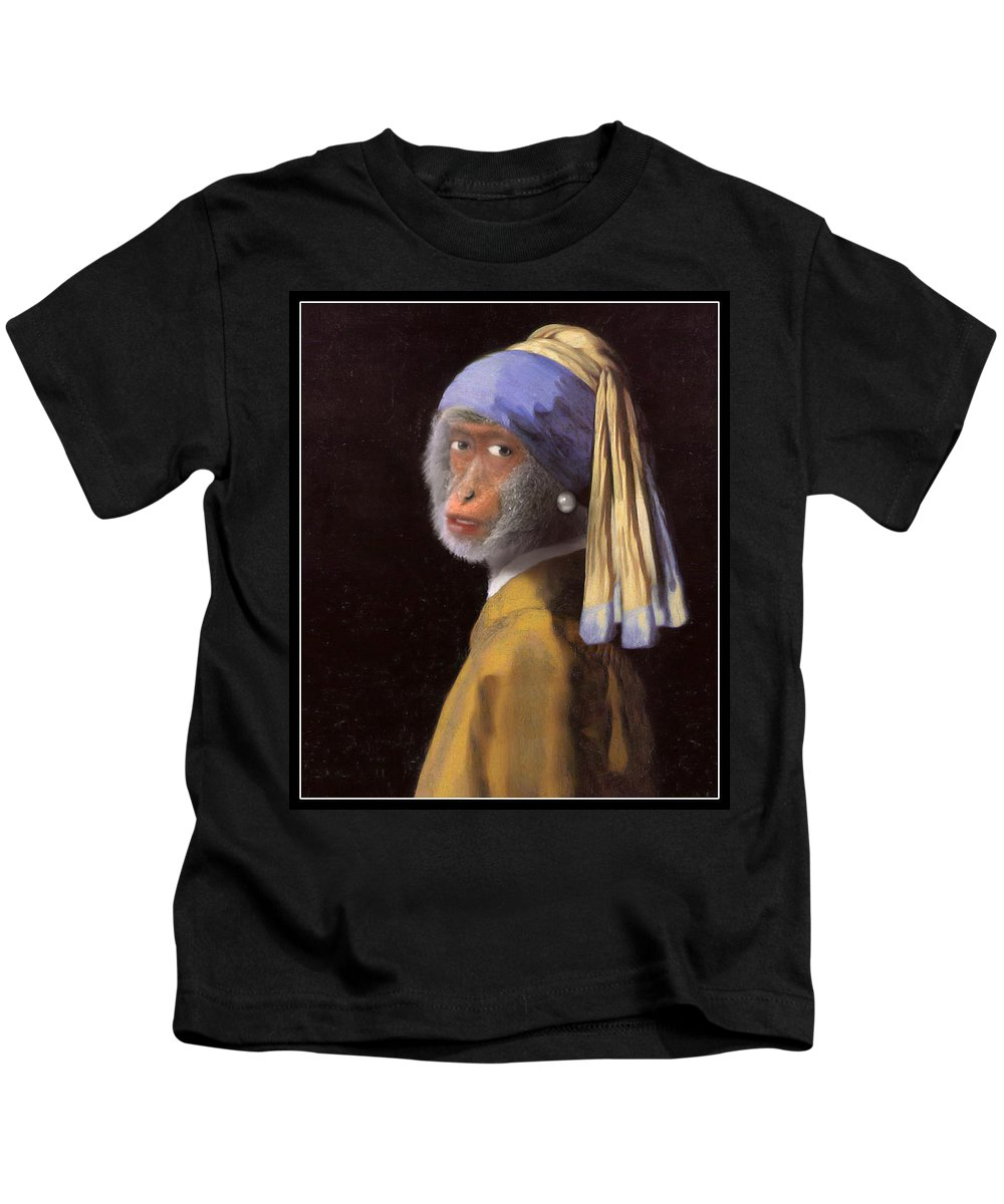 Vermeer Kids T-Shirt featuring the painting Chimp With A Pearl Earring by Gravityx9 Designs
