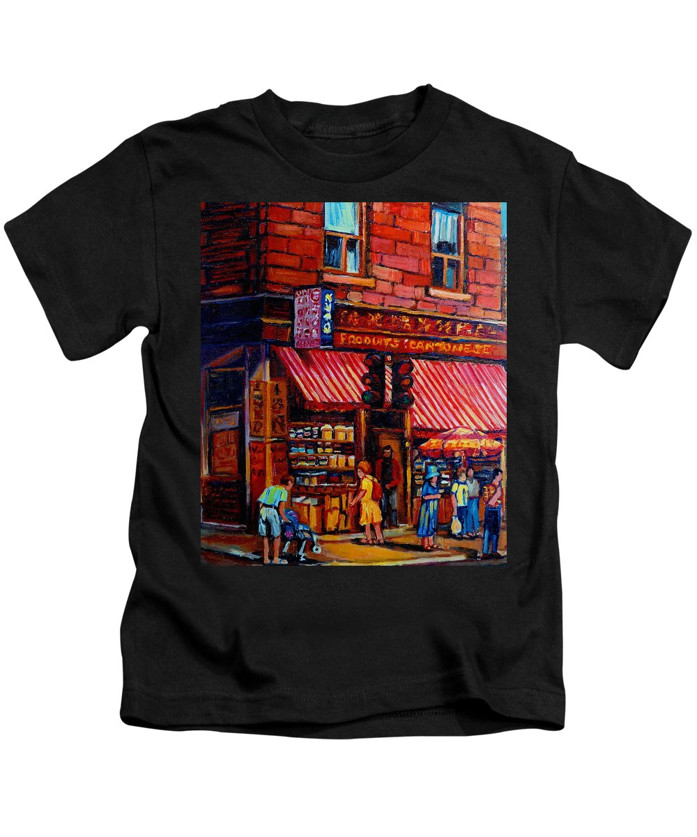 Chinatown Kids T-Shirt featuring the painting Chinatown Montreal by Carole Spandau