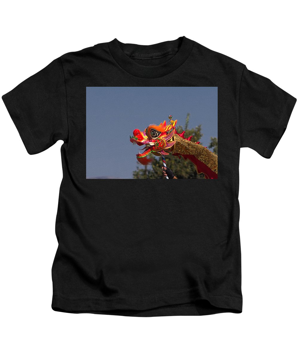 Dragon Kids T-Shirt featuring the photograph Chinese New Year Camarillo 2018 by Michael Gordon