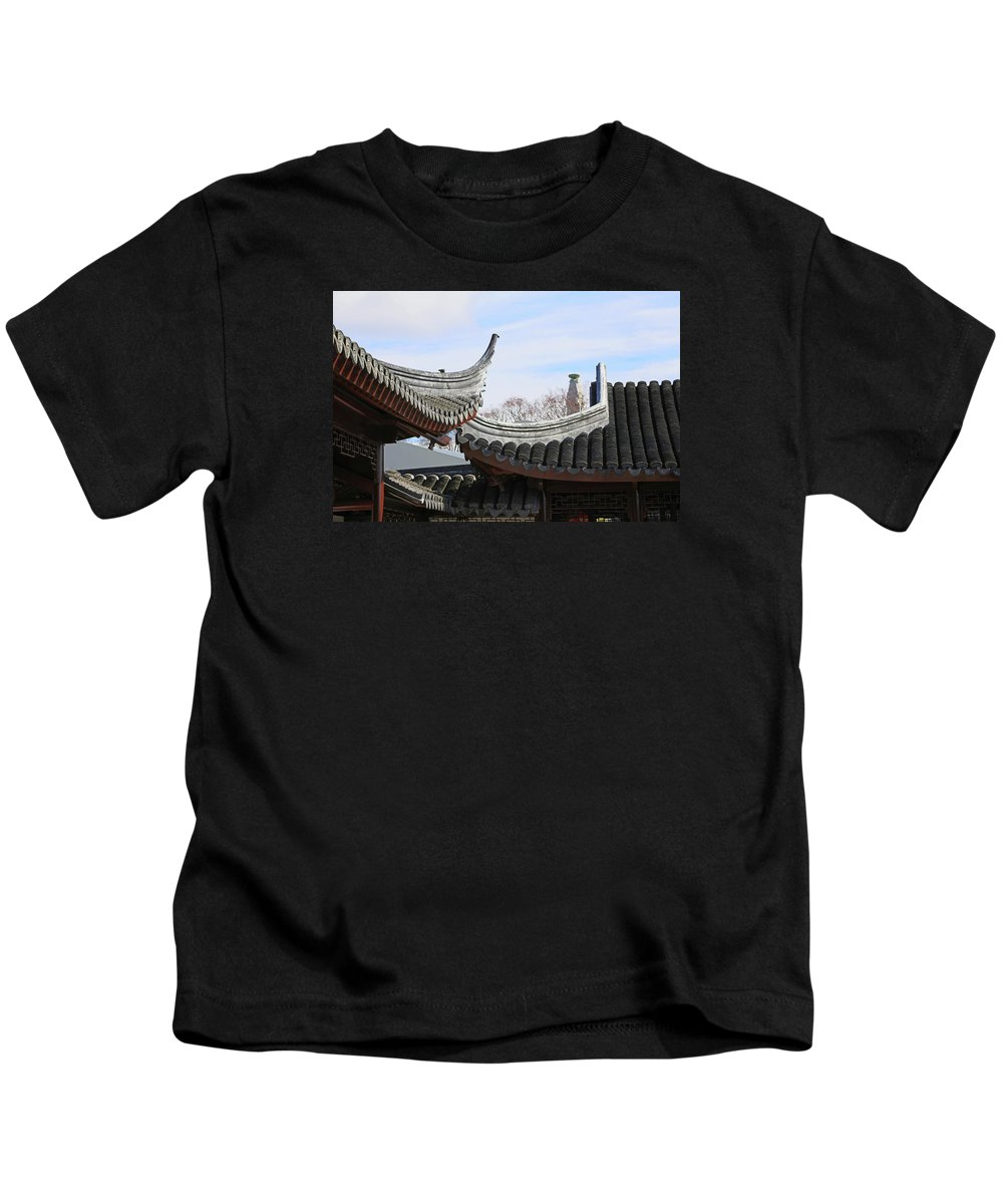Roofs Kids T-Shirt featuring the photograph Chinese Rooflines by Nareeta Martin