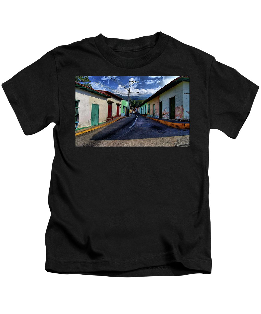 Colonial Kids T-Shirt featuring the photograph Chirimena Houses by Galeria Trompiz