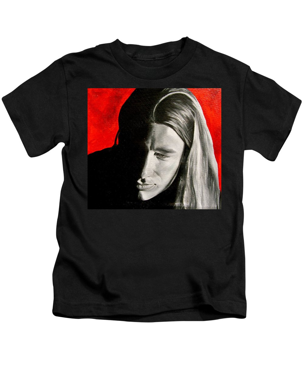 Portraiture Kids T-Shirt featuring the painting Chris 2 by Laura Pierre-Louis