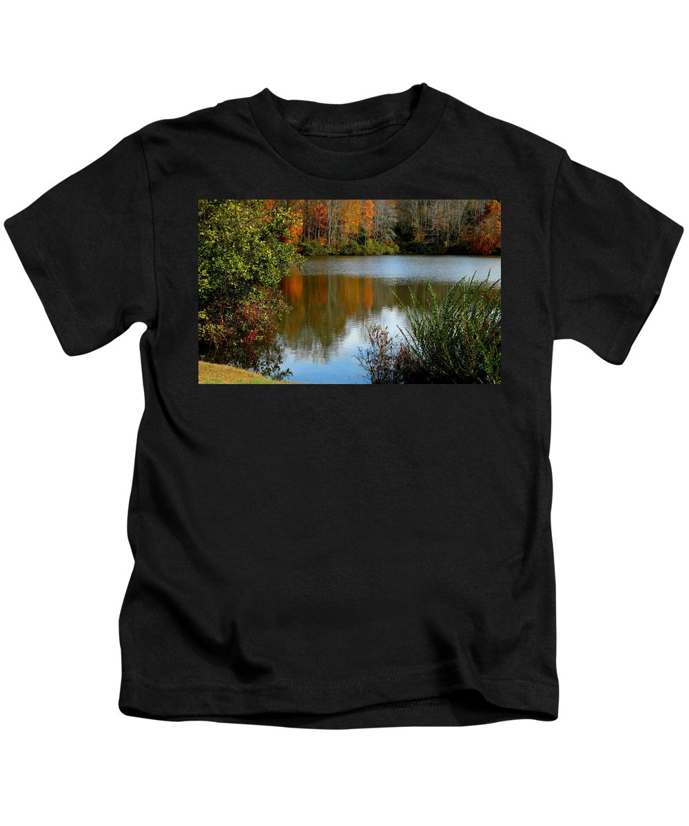 Water Kids T-Shirt featuring the photograph Chris Greene Lake - Reflections by Arlane Crump