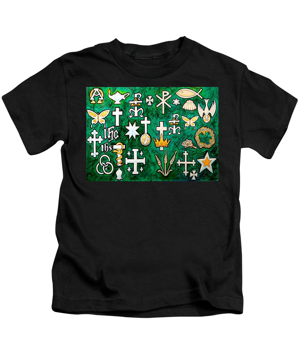 Chrismons Kids T-Shirt featuring the greeting card Chrismons by Kevin Middleton