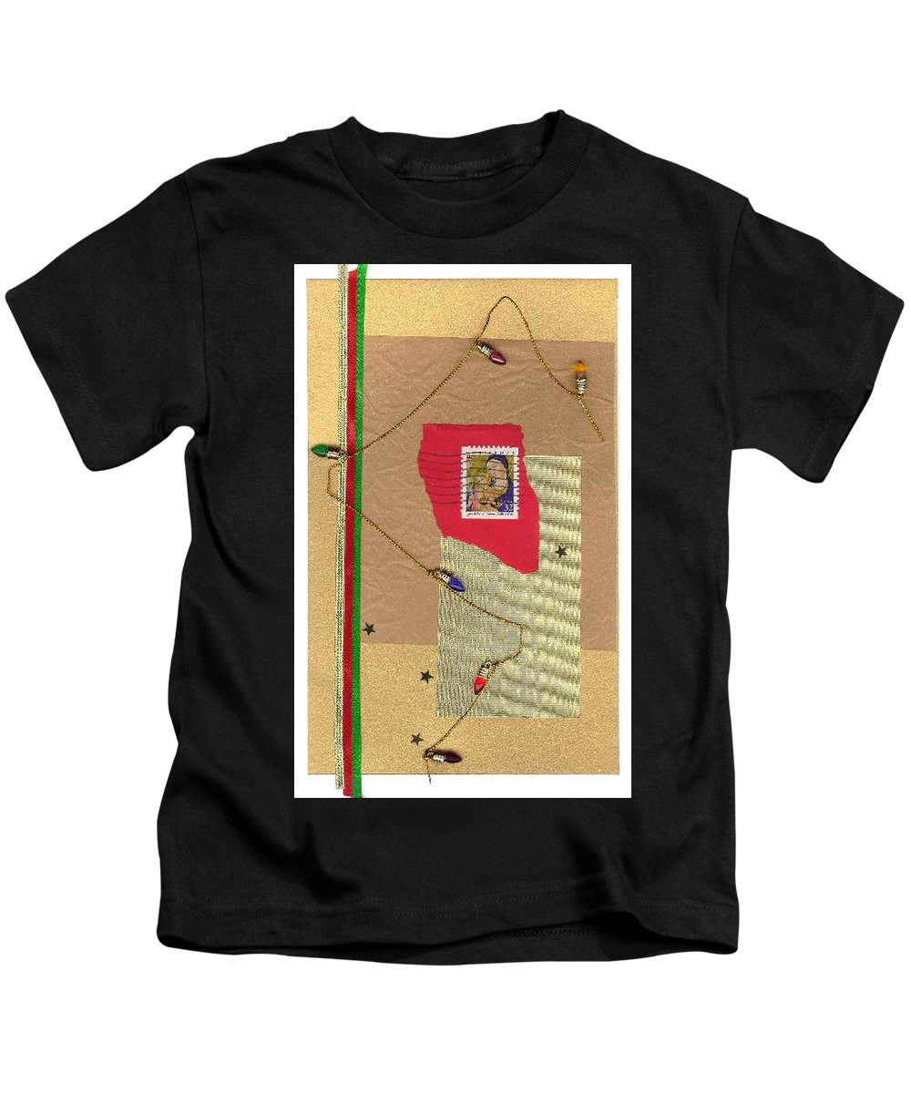 Christmas Kids T-Shirt featuring the mixed media Christmas Card by Steve Karol