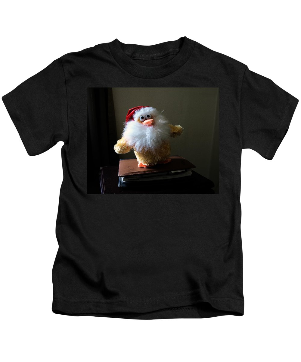 Chicken; Leftover; Appeal; Mercy; Bird; Fowl; Meal; Eat; Food; Pathos; Stuffed; Animal; Plead; Compa Kids T-Shirt featuring the photograph Christmas Chicken by Allan Hughes