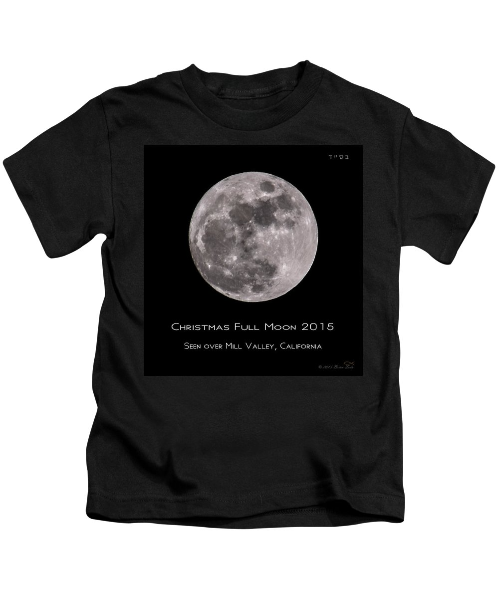Christmas Kids T-Shirt featuring the photograph Christmas Moon 2015 by Brian Tada