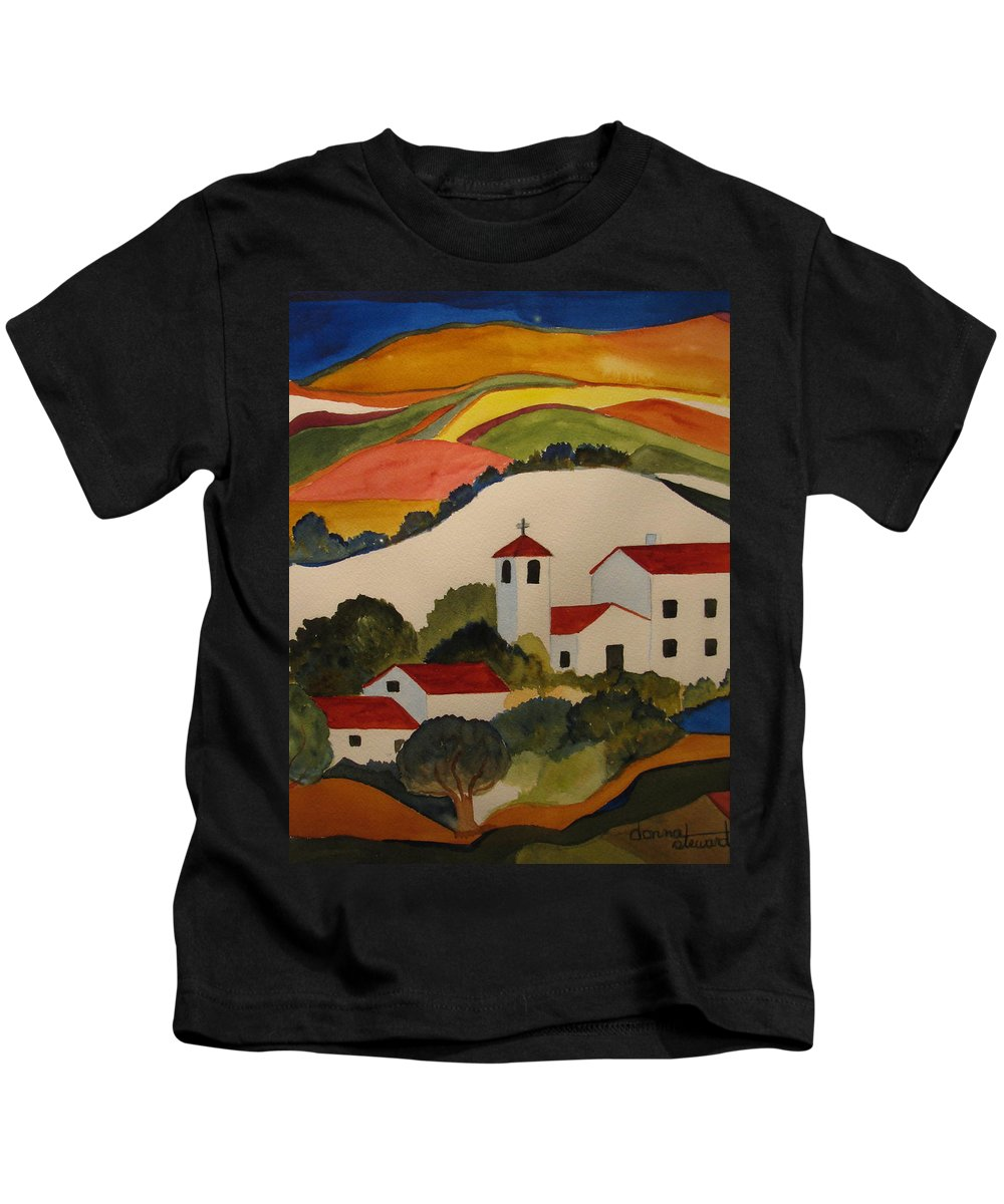 Kids T-Shirt featuring the painting Church by Donna Steward