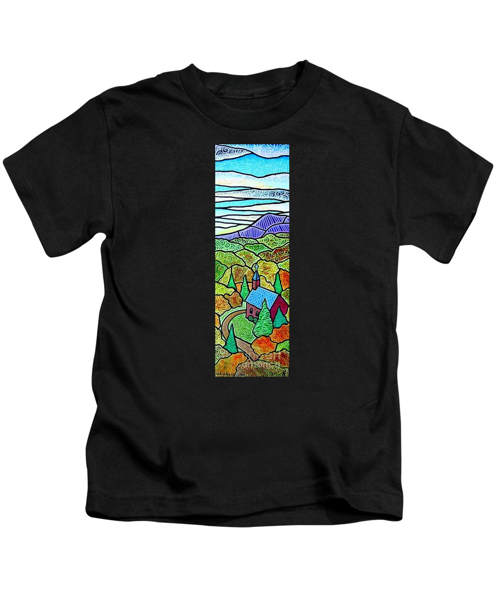 Church Kids T-Shirt featuring the painting Church In The Wildwood by Jim Harris