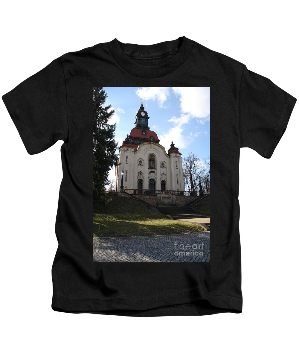 Church Kids T-Shirt featuring the photograph Church On The Hill by Christiane Schulze Art And Photography