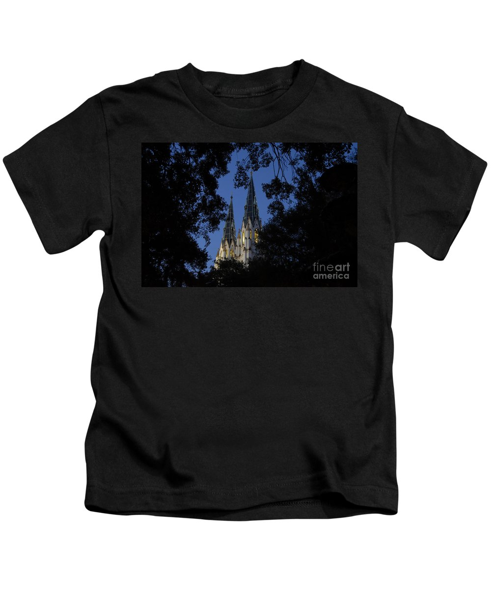 Church Steeple Kids T-Shirt featuring the photograph Church Steeples by David Lee Thompson