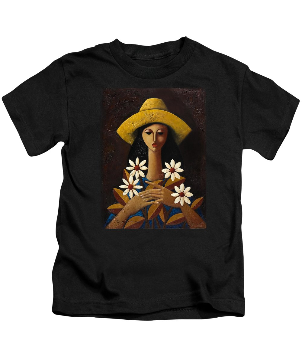 Puerto Rico Kids T-Shirt featuring the painting Cinco Margaritas by Oscar Ortiz
