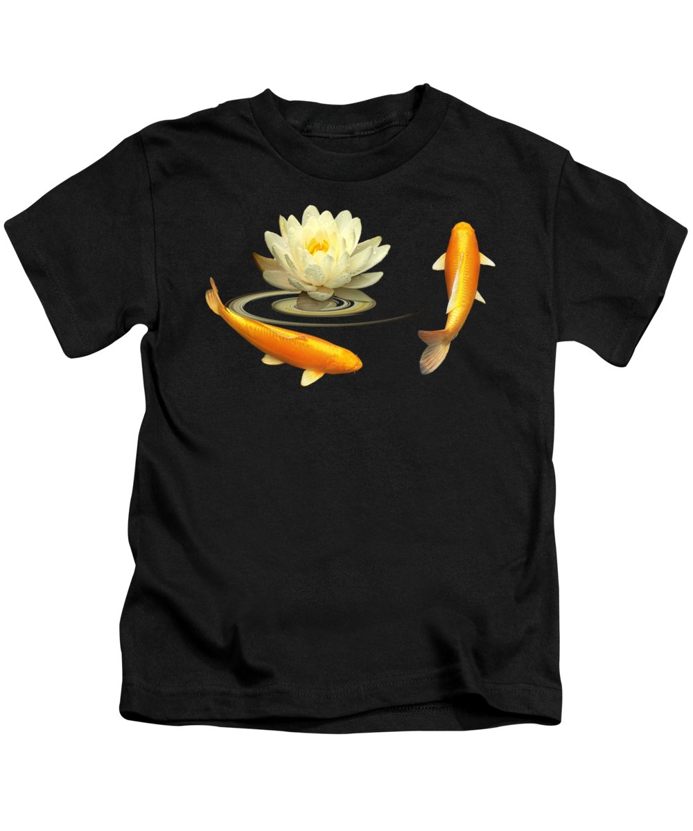 Japanese Koi Fish Kids T-Shirt featuring the photograph Circle Of Life - Koi Carp With Water Lily by Gill Billington