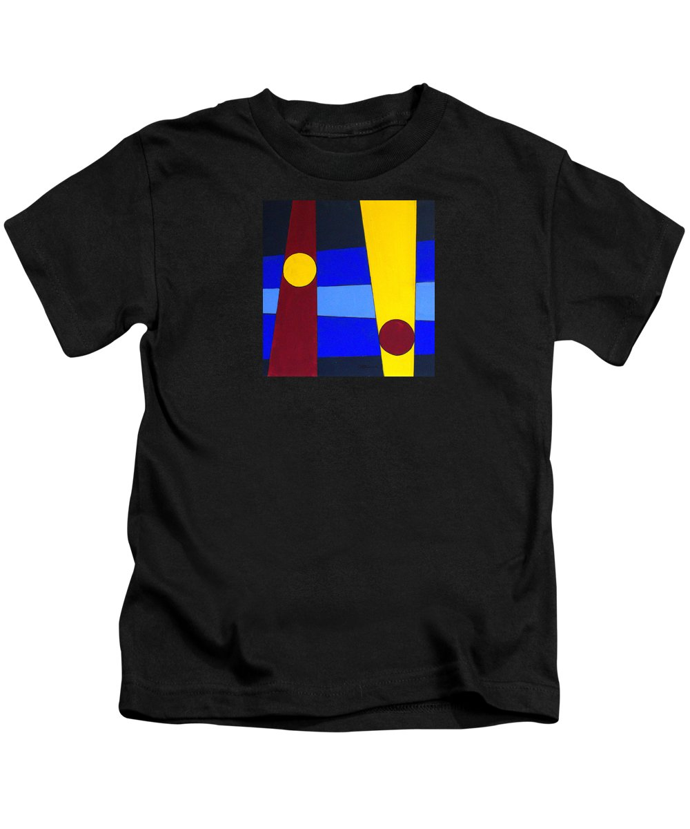 Abstract Kids T-Shirt featuring the painting Circles Lines Color by J R Seymour