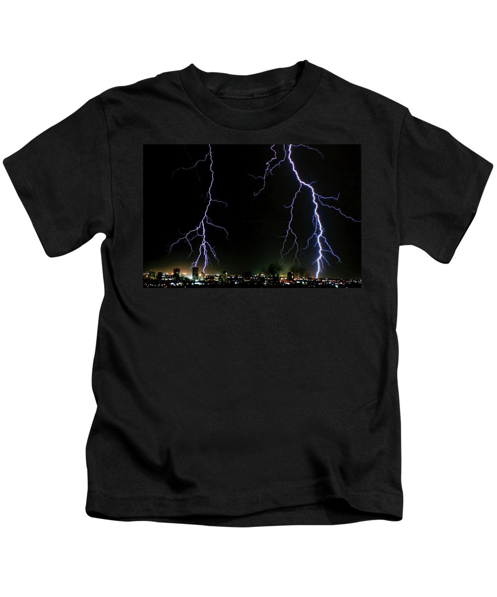 Arizona Kids T-Shirt featuring the photograph City Lights by Cathy Franklin