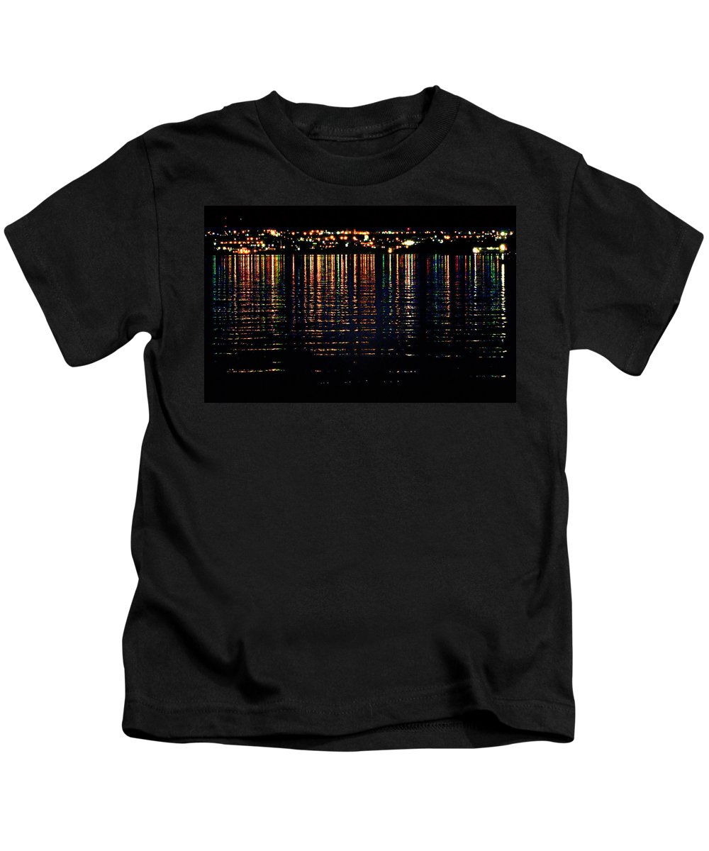 Light Reflections On Water Kids T-Shirt featuring the photograph City Lights Upon The Water 1 by Mark Sellers