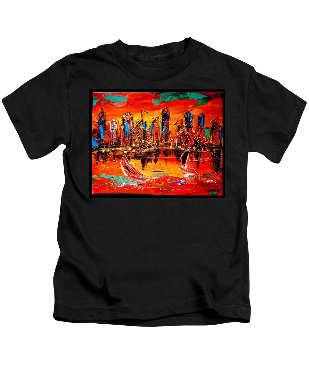 Red Poppies Kids T-Shirt featuring the painting City by Mark Kazav